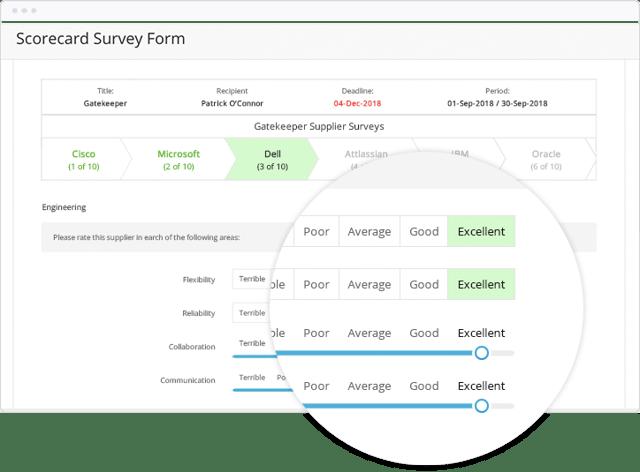 Rate vendors by key criteria