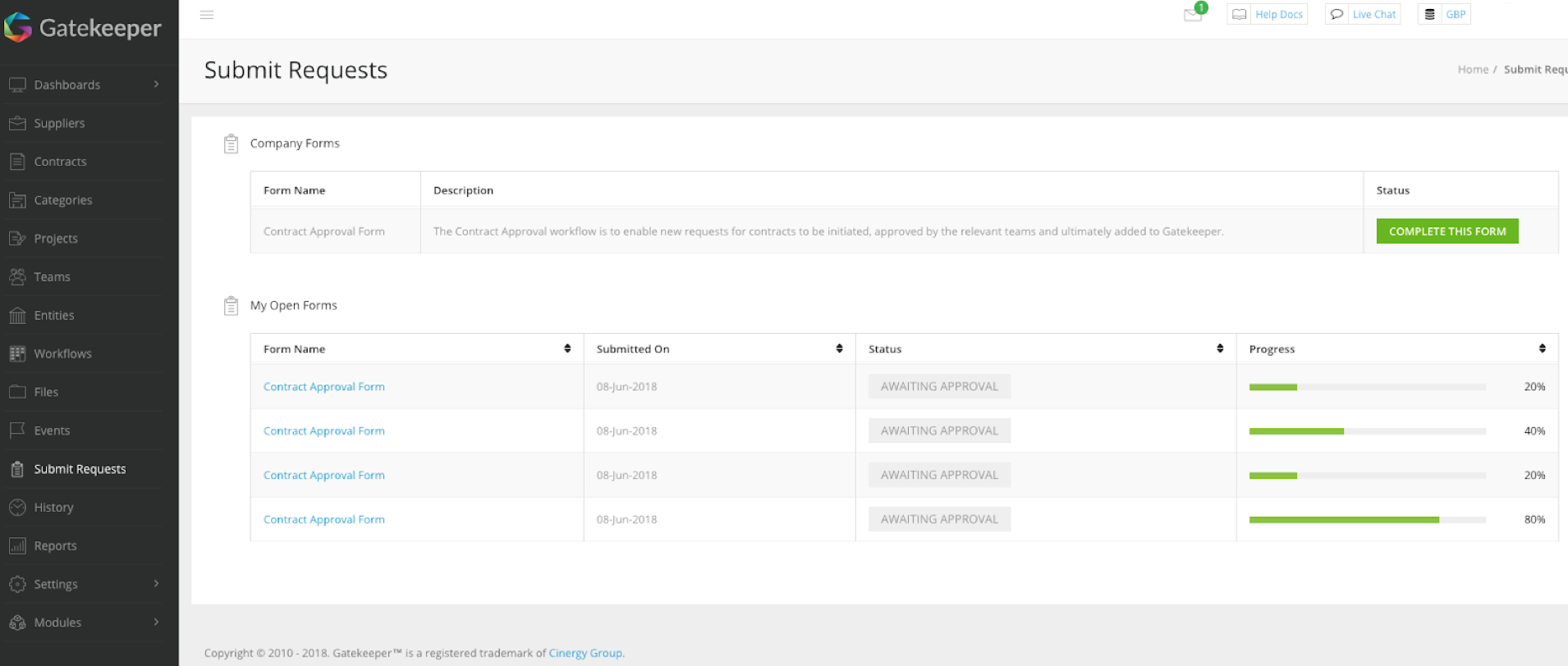 Example request dashboard showing live forms