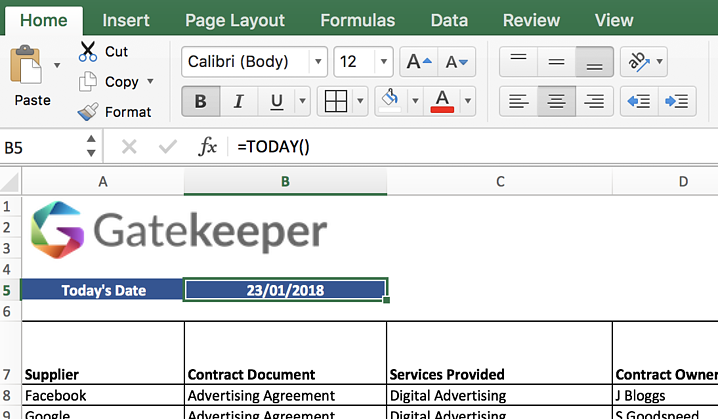 Managing Contracts with Excel - Today Formula