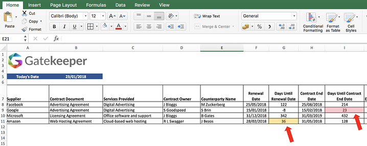 Managing Contract with Excel - Data Validation