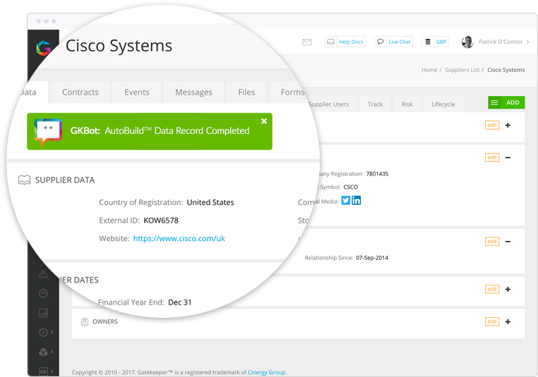 Auto-build supplier records. No need for manual data entry.