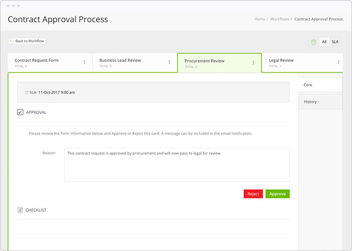 Monitor approval processes and create checklists