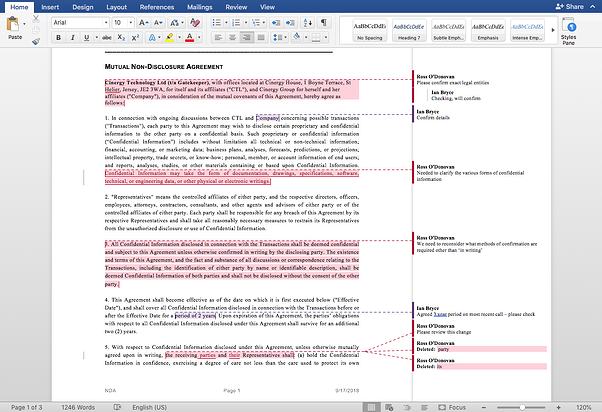 Track changes in a Microsoft Word compliant solution