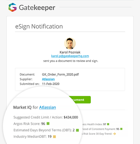 Email notification including Market IQ data