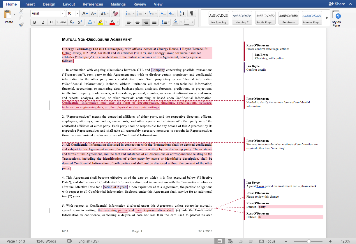 The native Microsoft Word redlining solution from Gatekeeper