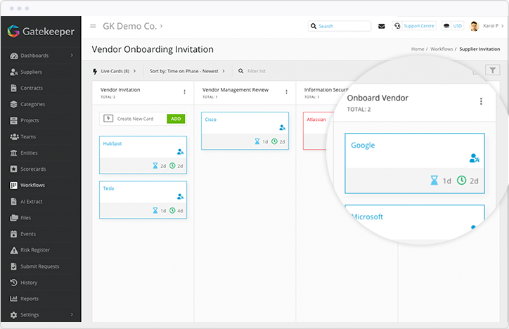 Automatically onboard vendors with Gatekeeper