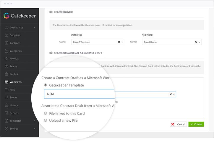 Generate templates from contract records
