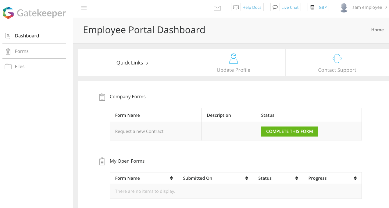 Example Employee Portal Dashboard