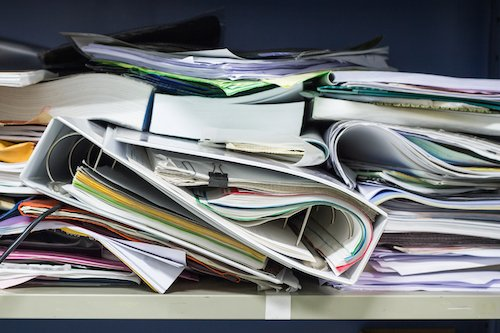 Contract documents stored in a mess